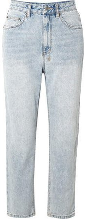 Chlo Wasted Cropped High-rise Straight-leg Jeans - Light denim