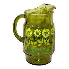 Vintage Green Glass Daisy Design Pitcher