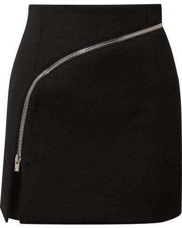 Zip-detailed Twill Mini Skirt - Black