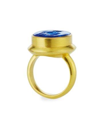Elizabeth Locke 19k Blue Venetian Glass Intaglio Ring