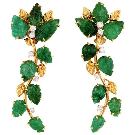 18k Gold and Emerald Leaves with Diamonds Earrings