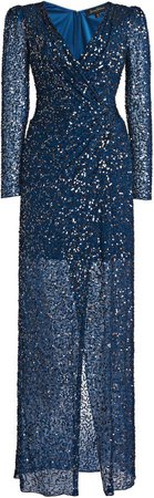 Jenny Packham Wrap-Effect Sequined Dress