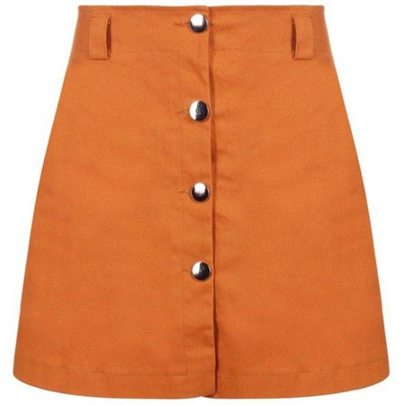 orange mini a line skirt