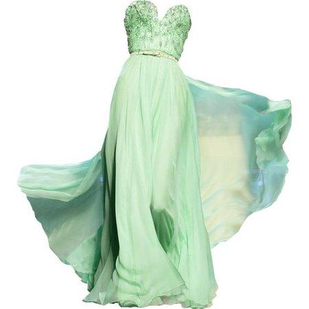 Light Green Strapless Evening Gown