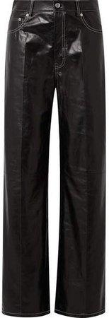 Leather Wide-leg Pants - Black