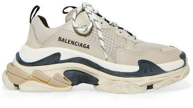 Triple S Logo-embroidered Leather, Nubuck And Mesh Sneakers - Beige