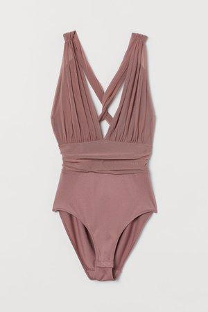 Mesh Bodysuit - Dusty rose - Ladies | H&M US