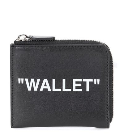 Quote print leather wallet