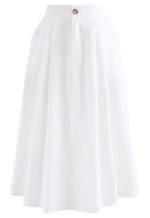 Slant Pockets A-Line Midi Skirt in White - Retro, Indie and Unique Fashion