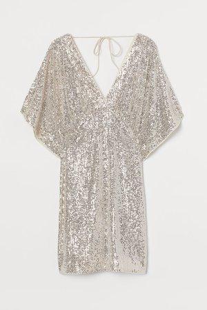 Wide-sleeved Sequined Dress - Beige