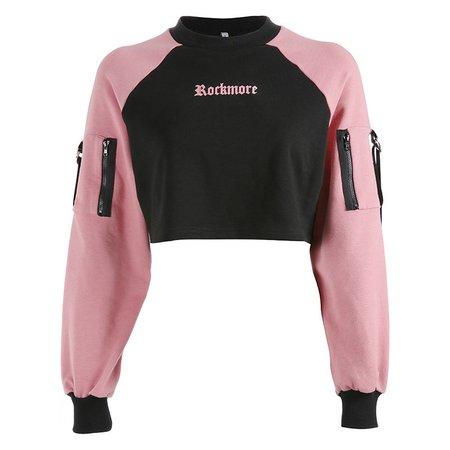 pink and black crop sweatshirt