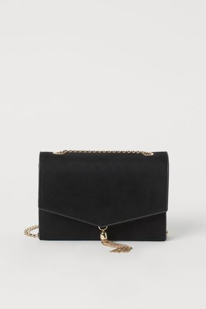 Tassel-detail Clutch Bag - Black