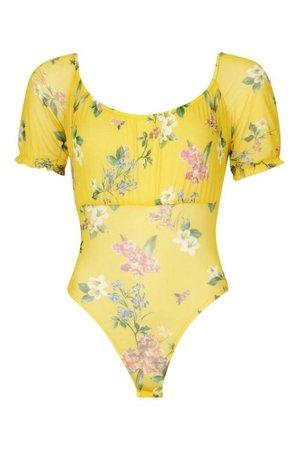 Floral Mesh Bodysuit | Boohoo