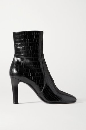 Blu Croc-effect Leather Ankle Boots - Black