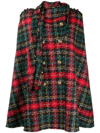 Balmain Tartan-Pattern Tweed Cape Aw20