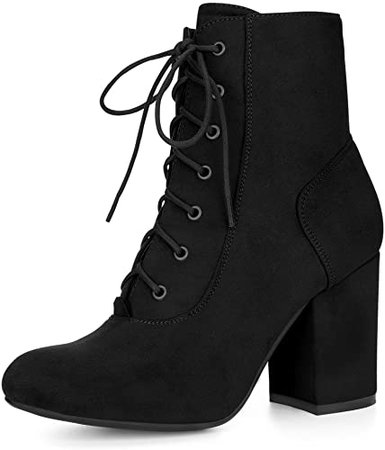 Amazon.com | Allegra K Women's Rounded Toe Chunky High Heel Lace Up Booties (Size US 9) Black | Ankle & Bootie