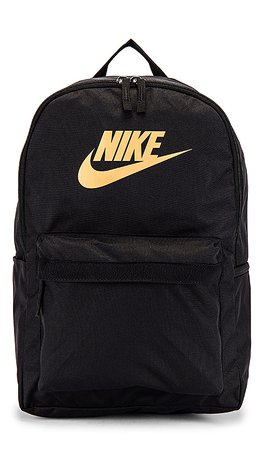 Nike Nk Heritage Backpack 2.0 in Black & Metallic Gold | REVOLVE