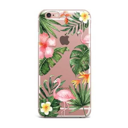 IPhone TROPICAL clair Transparent feuille Flamingo feuilles | Etsy