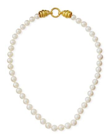 Elizabeth Locke Pearl Necklace with Gold Martin Clasp
