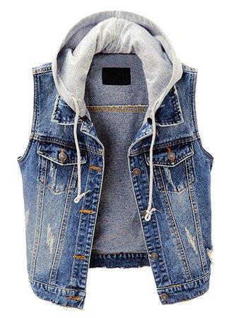 Kedera Women's Distressed Sleeveless Denim Vest with Detachable Hoodie Blue