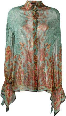 paisley print sheer shirt