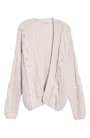 Woven Heart Cable Cardigan lavender