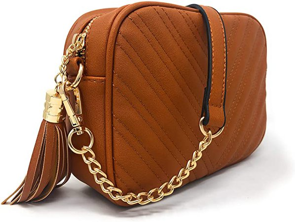 Chevron Quilted Crossbody Shoulder Bag with Tassel accent and Adjustable Strap by lola mae (Brown 2): Handbags: Amazon.com