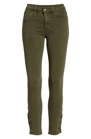 Hudson Jeans Nico Crop Super Skinny Jeans (Washed Army Green) | Nordstrom