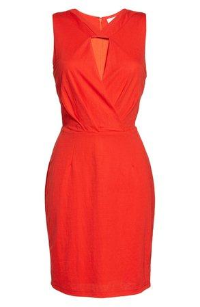 Adelyn Rae Austyn Keyhole Sheath Dress red