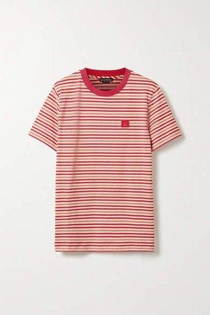 Ellison Face Appliqued Striped Cotton-jersey T-shirt - Red