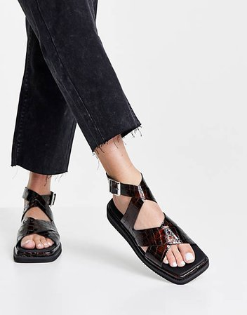 Topshop Pearl Leather Cross Over Ankle Sandal in Multi | ASOS