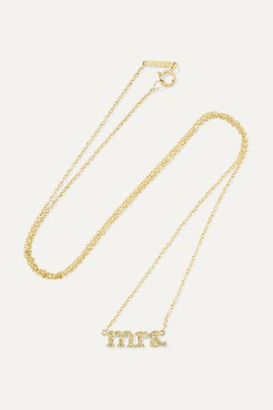 Gold Mrs 18-karat gold diamond necklace | Jennifer Meyer | NET-A-PORTER