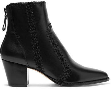 Benta Whipstitched Leather Ankle Boots - Black
