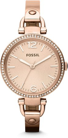 Fossil Women's Georgia Quartz Stainless Steel Dress Watch, Color: Rose Gold (Model: ES3226): Fossil: Watches