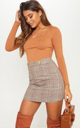 Brown Check Button Detail Mini Skirt | Skirts | PrettyLittleThing USA