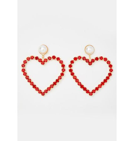 Big Heart Rhinestone Earrings - Red | Dolls Kill