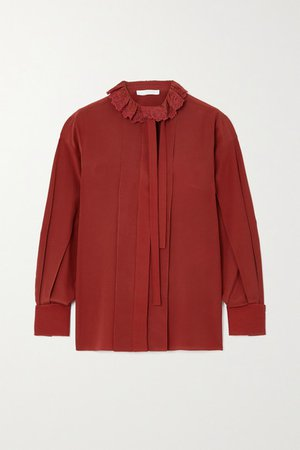 Pussy-bow Embroidered Ruffled Silk-crepe Blouse