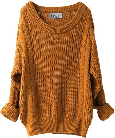 Liny Xin Women's Cashmere Oversized Loose Knitted Crew Neck Long Sleeve Winter Warm Wool Pullover Long Sweater Dresses Tops (Ginger) at Amazon Women's Clothing store