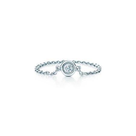 Elsa Peretti™ Diamonds by the Yard™ ring in platinum. | Tiffany & Co.