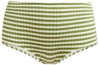 The Ginger High Rise Bikini Briefs - Womens - Green Stripe