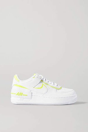 Air Force 1 Shadow Neon Leather Sneakers - White
