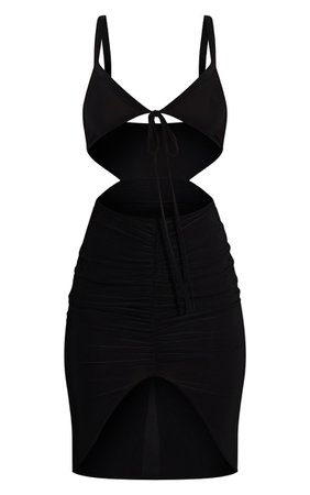 Black Slinky Tie Bust Ruched Bodycon Dress   PrettyLittleThing USA