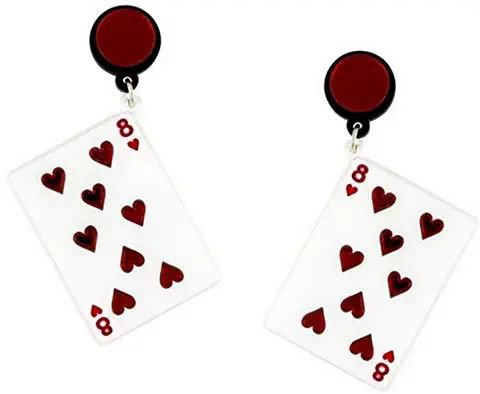 8 of Hearts Playing Card Earrings 1