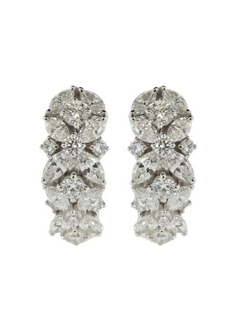 Shop silver Yeprem 18kt white gold marquise and round diamond hoop earrings with Express Delivery - Farfetch