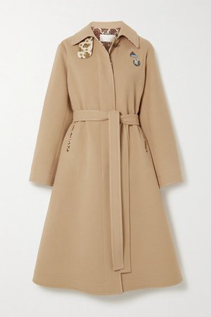 Embellished Belted Virgin Wool And Cashmere-blend Coat - Beige