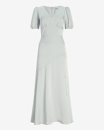 Satin Puff Sleeve V-Neck Maxi Dress