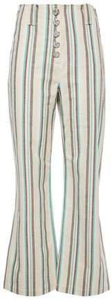 Snap-detailed Striped Cotton Kick-flare Pants