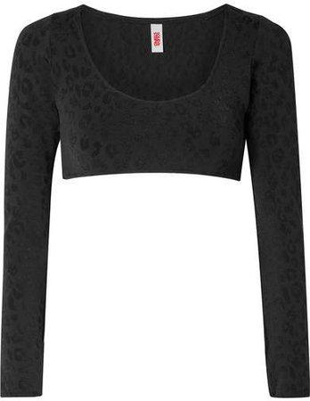 The Georgia Stretch Leopard-jacquard Bikini Top - Black
