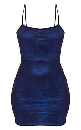 Blue Glitter Metallic Tie Back Bodycon Dress