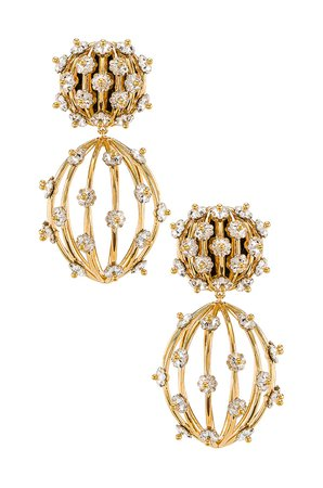 Lele Sadoughi Swarovski Birdcage Earrings in Crystal | REVOLVE